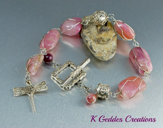 Pink Tourmaline Bracelet Bali Sterling Silver Handmade Pink Gemstone Wire Wrapped Chunky Bracelet