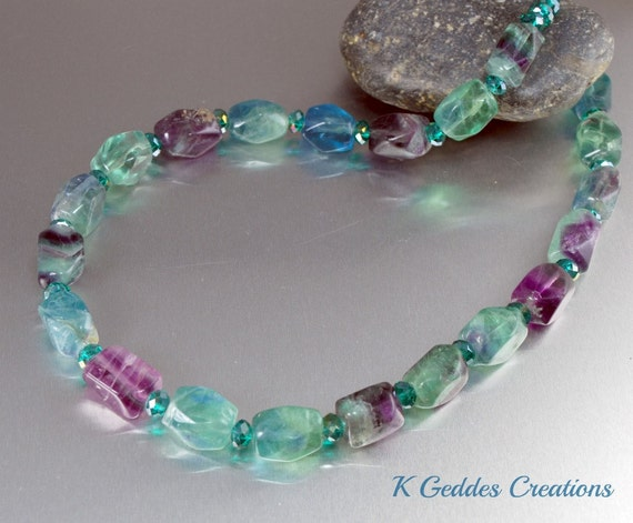 Fluorite Necklace Teal Crystal Bali Sterling Silver Handmade Beaded Nugget Green Purple Chunky Shop Super Sale