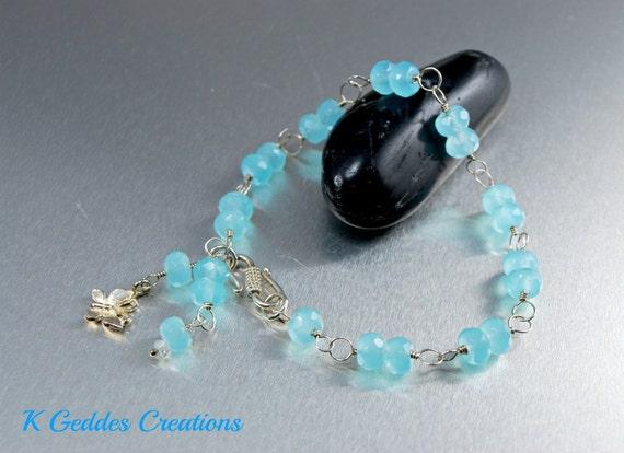 Blue Opal Quartz Bracelet Sterling Silver Handmade Wire Wrapped Peruvian Blue Bracelet Butterfly Charm SALE