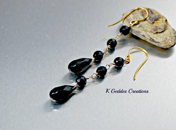 Gold Black Onyx Earrings 14k Gold Filled Handmade Long Wire Wrapped Gemstone Dangle Earrings