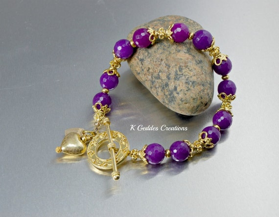 Chunky Purple Agate Bracelet Ornate Bali Gold Vermeil Handmade Grape Purple Beaded Gemstone Bracelet
