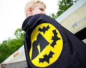 Superhero Cape Personalized Letter bat , 2T - 7T, costume, multiple colors unique gift quick ship