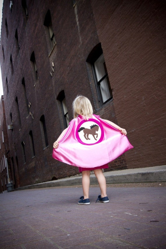 Superhero Cape Horse lover Bubble Gum Pink and Hot Pink , 2T - 7T, color options pretend play, waldorf dress-up, imaginary play