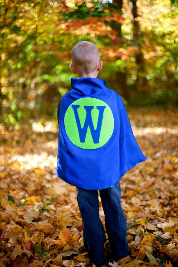 Superhero Cape Personalized Letter Blue and Lime , 2T - 7T,  unique gift fast delivery to Australia