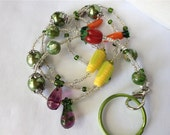 Vegetable Garden ID Badge Lanyard carrots peppers eggplant corn for cafeteria workers food service and lunch lady