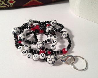Soccer Mom ID Badge Lanyard beaded with soccer balls and proud mom beads