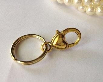 Golden Heart ID Badge Clip Keyring