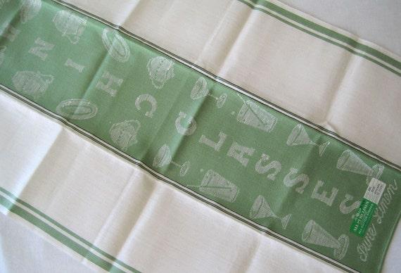 Vintage Czechoslovakian Linen Tea Kitchen Towel, Green and White