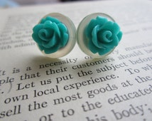 Vintage Button and Teal Rose Stud Earrings