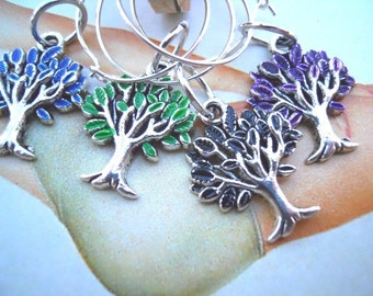 Wine Charms Hand Painted Enamel Trees