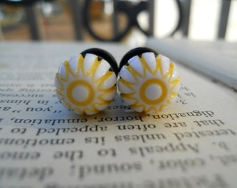 Bridal Plugs, Girly Plugs, Unique Plugs, Vintage Cabochon, Ready To Ship, Striped-Yellow and Cream-0g