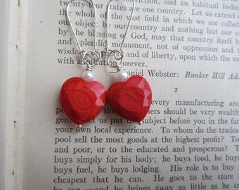 Dangle, Red Glass, White Pearl, Heart, Long Earrings