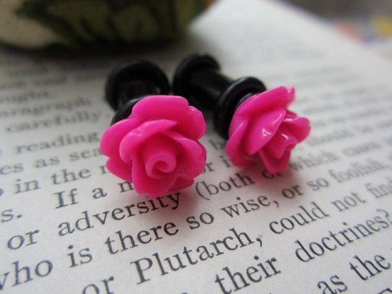 Plugs-Gauges -10mm Hot Pink Roses - Pick Your Size