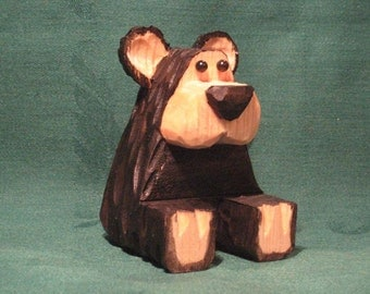 Sitting Bear Wood Carving Hand Carved Cabin Decor Wood Carvings