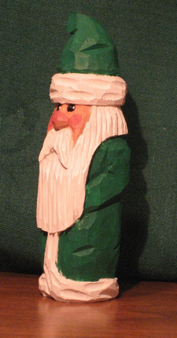 """4"""" Traditional Santa With Long Green Robe, Hand Carved, Handmade, Wood, Wood Carving, OOAK"""