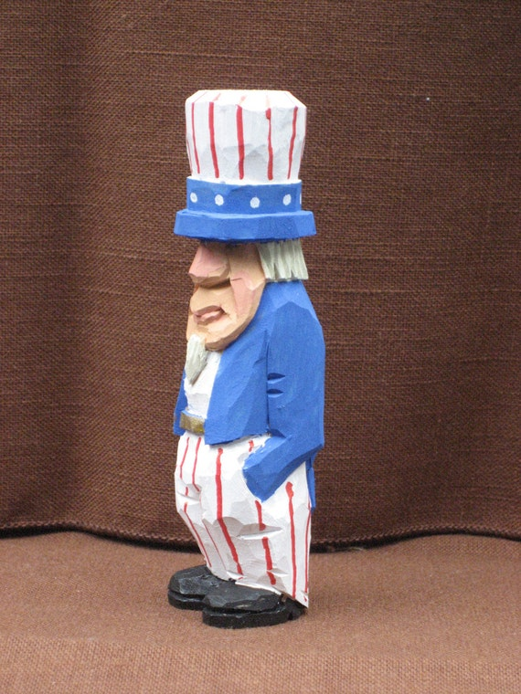 "4"" Uncle Sam, Wood Carving,  Hand Carved, Handmade, Fathers Day Gift, Gift for Dad, OOAK"
