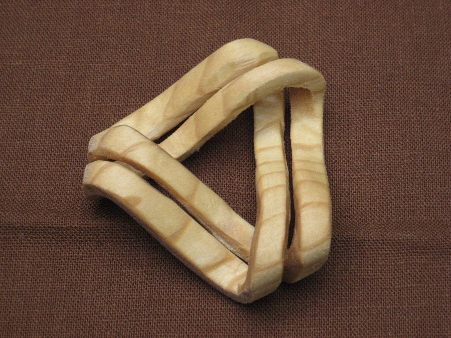 Hand carved handmade wood mobius strip amazing puzzle