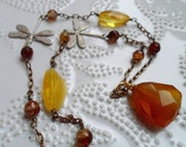 Amber and Dragonflies - Amber, Chalcedony, Quartz and Dragonfly Necklace