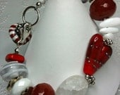 My Red Heart - Lampwork heart, Carnelian, Quartz, White Agate and Sterling Silver Bracelet