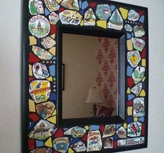 Framed Mosaic Wall Mirror Travel Theme