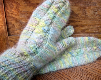 Cabled Angora Mittens in Pastel Colors