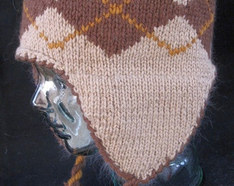 Brown Argyle Patterned Wool Ear Flap Hat with Angora Lining