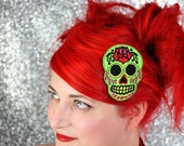 Green Sugar Skull Hair Clip, Day of the Dead