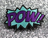 POW Hair Clip, Comic Book Hair Barrette, Turquoise and Purple