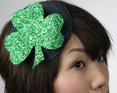 Shamrock Hat  burlesque fascinator green glitter