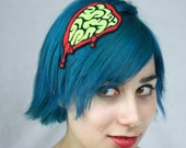 Zombie Headband, Green Zombie Brains, Halloween Hairband