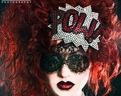 Pow Fascinator Comic inspired Red Rhinestone Covered, as seen on the Today Show and Curve magazine- Black FRiday Cyber Monday