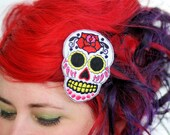 Sugar Skull Hair Clip, Day of the Dead, White