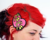 Doki Doki Hair Clip, Heart Beat, Japanese Kanji Barrette, Pink and Yellow, Heart- Black FRiday Cyber Monday