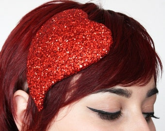 Valentine Heart Fascinator, Burlesque, Red Glitter