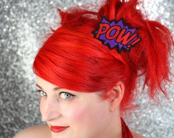 POW Hair Clip, Comic Book Hair Barrette, Purple and Red