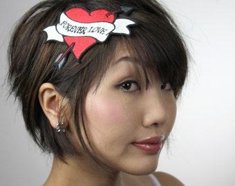 Tattoo Heart Headband, Forever Love, Cupids Heart, Red Headband