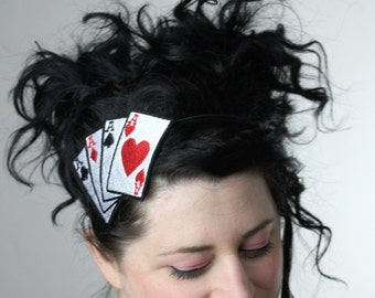Aces Headband, Playing Cards, Poker Tattoo, Adult Headband, Rockabilly