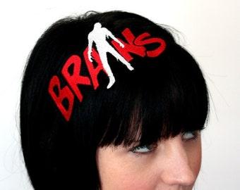 Zombie Brains Headband, Red and White