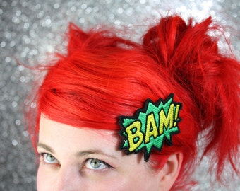 BAM Hair Clip, Comic Book Hair Barrette, Green and Yellow And Other Colours