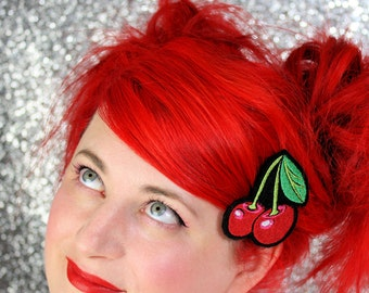 SALE - Cherries Hair Clip, Rockabilly Hair Clip - Christmas In July CIJ