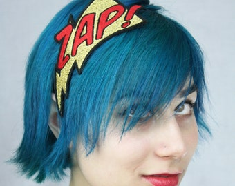 Metallic Headband, Zap Comic Headband, Gold and Red, Embroidered- Black FRiday Cyber Monday
