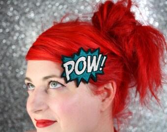 POW Hair Clip, Comic Book Hair Barrette, Dark Turquoise and White