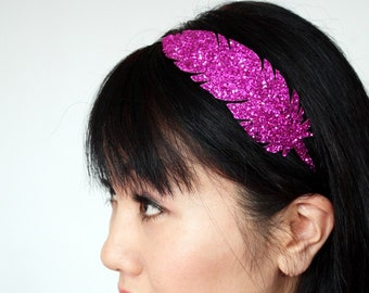 Hot Pink Headband, Glitter feather, Several Other Colours Available