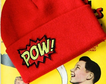 Beanie Hat, POW, Comic Inspired Knitted Hat, Red- Black FRiday Cyber Monday