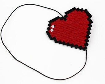 SALE - Pixel Heart Headband, Retro Gaming Inspired, Other Colour Choices - Christmas In July CIJ