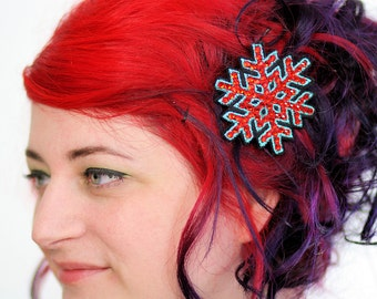 Snowflake Hair Clip, Christmas Barrette, Blue with Red Rhinestones