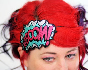 SALE - KABOOM Comic Headband, White, Turquoise and Pink - Christmas In July CIJ