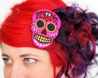 Sugar Skull Hair Clip, Day of the Dead, Pink, White or Green