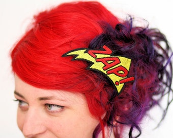 SALE - ZAP Hair Clip, Comic Book Barrette, Yellow and Red - Christmas In July CIJ