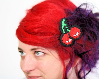 Pixel Cherries Hair Clip, Gaming Barrette, Retro Gamers, Red, Green and White